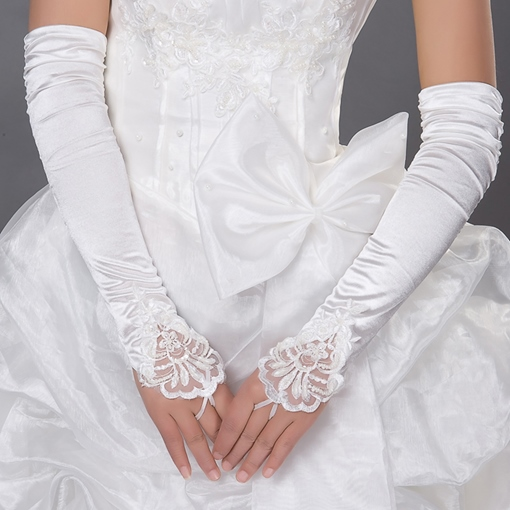 Satin Fingerless Wrinkled Gloves with Lacy Trim