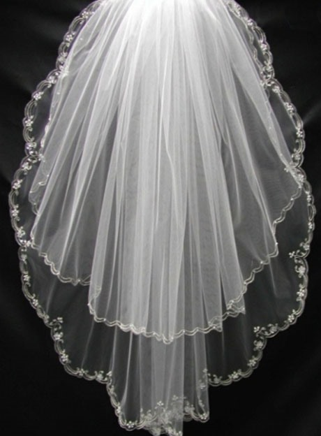 Blusher Floral Edge Tulle Wedding Veil
