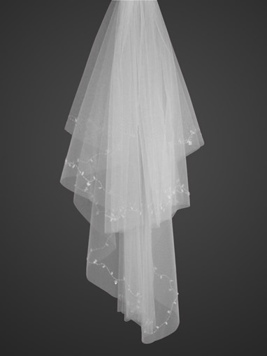Two-Tiers Fingertip Wedding Veil With Beading