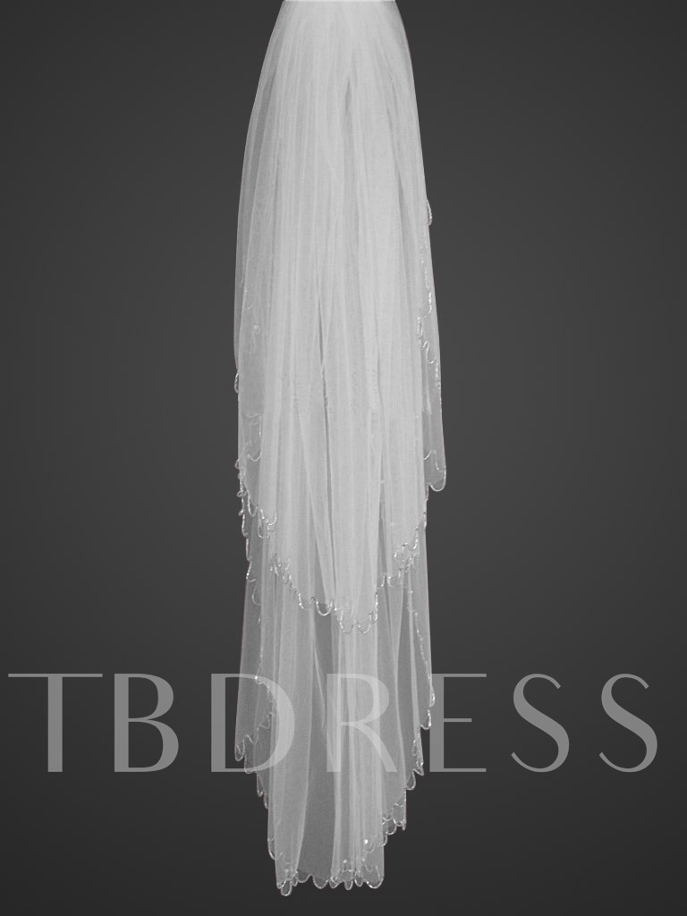 Image of 2-tiers Fingertip Wedding Veil