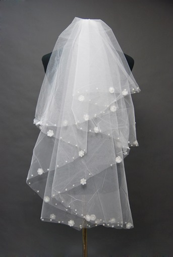 Floral Edge Wedding Bridal Veil PQ65328
