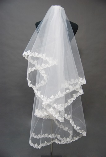 Floral Edge Wedding Bridal Veil HC35039