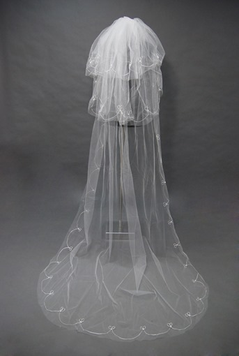 Floral Edge Wedding Bridal Veil XD91336