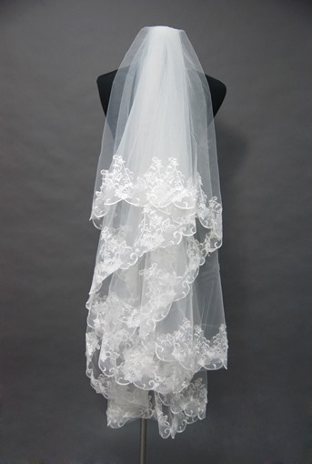 Floral-Edge Wedding Veil