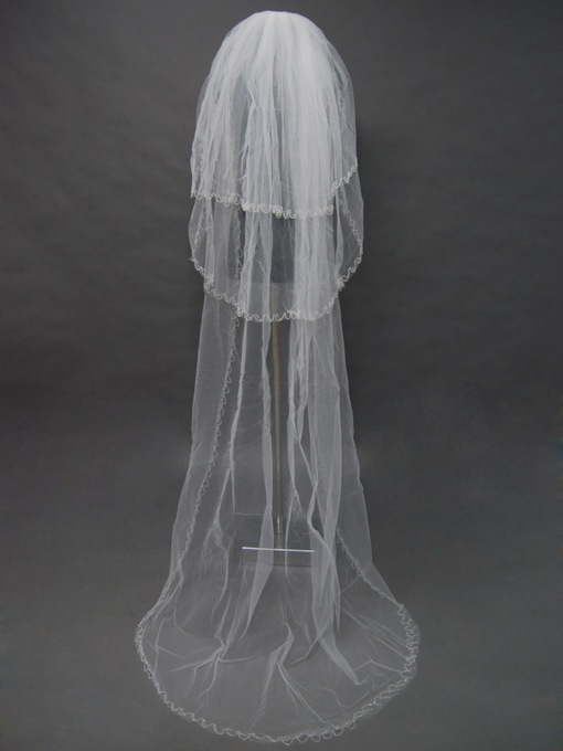 Floral Edge Wedding Bridal Veil BV14665