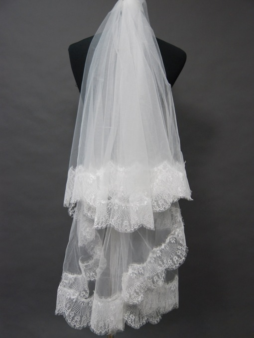 Double Layers Floral Edge Wedding Bridal Veil UQ79415