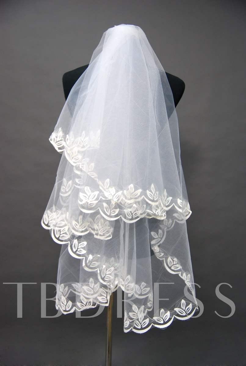 Waist Length Floral Edge Wedding Bridal Veil