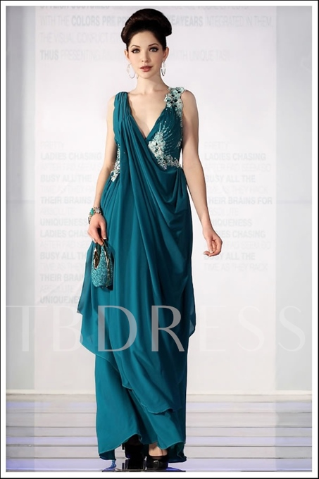 A-Line Deep V-Neck Sleeveless Floor-length Prom Dresses