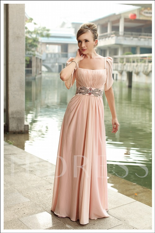 A-line Square Neckline Short Sleeves Evening Dress