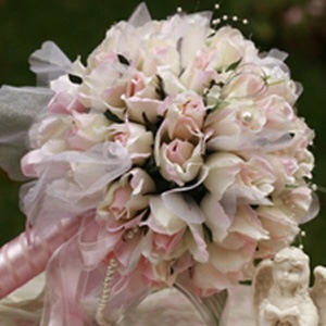 Large Pale Pink Silk Cloth Wedding Bouquet for Bride
