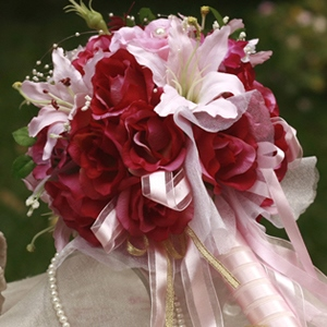 Red and Pink Silk Cloth Wedding Bridal Bouquet