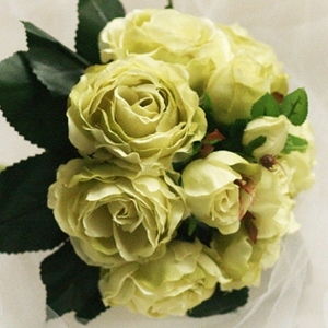 Natural Yellow 10 Pieces Silk Wedding Wrist Bouquet for Bride