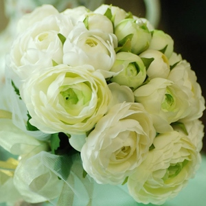 Green-white Silk Cloth Wedding Bouquet for Bride