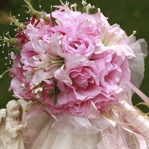 Pink Silk Cloth Wedding Bridal Bouquet