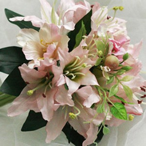 Calm 10 Pieces Pale Pink Silk Cloth Lily Wedding Bridal Bouquet