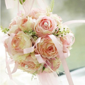Soft Pink Silk Cloth Wedding Bouquet for Bride