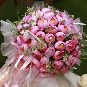 Rose Silk Cloth Bud Wedding Bridal Bouquet