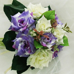 10 Pieces Purple and Green Silk Cloth Wedding Bridal Wrist Bouquet