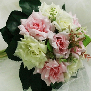 10 Pieces Pink and Green Silk Cloth Wedding Wrist Bouquet for Bride