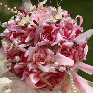 Pink-red Silk Cloth Wedding Bridal Bouquet