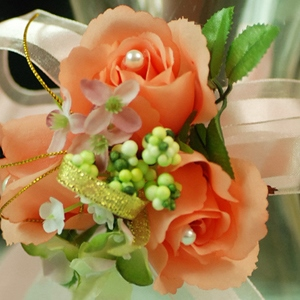 Original Orange Silk Cloth Wedding Wrist Corsage for Birde