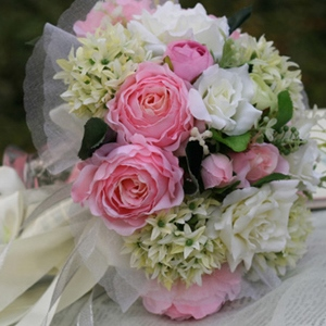 Pink Silk Cloth Flower Wedding Bridal Bouquet with White Ribbon