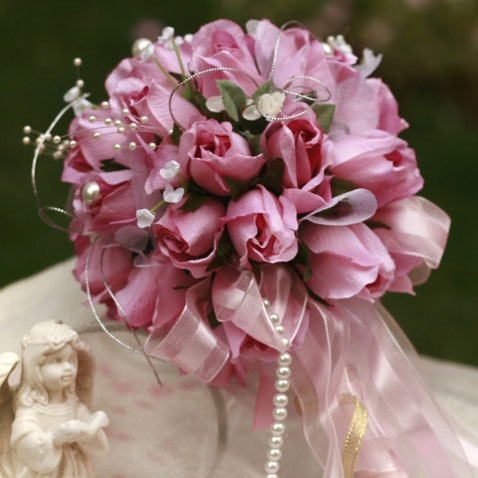 Small Rose Silk Cloth Wedding Birdal Bouquet