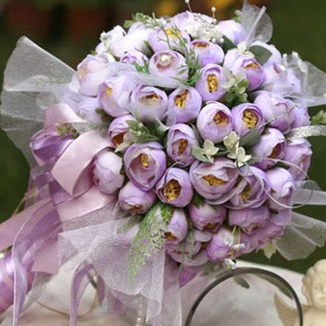 Light Purple Silk Cloth Bud Wedding Bridal Bouquet