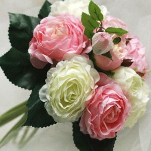 10 Pieces Pink and Light Green Silk Cloth Wedding Wrist Bouquet for Bride