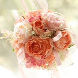 Brillant Pink and Orange Silk Cloth Wedding Bouquet for Bride