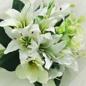10 Pieces Green-white Silk Cloth Lily Wedding Bridal Bouquet