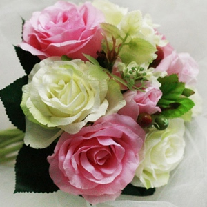 Multicolored 10 Pieces Pink and Green Silk Cloth Flower Wedding Bridal Wrist Bouquet