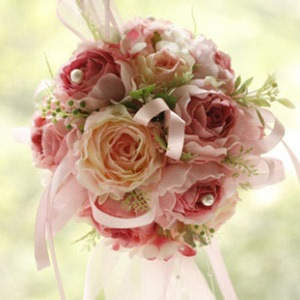 Warm Rose and Red Silk Cloth Wedding Bridal Bouquet