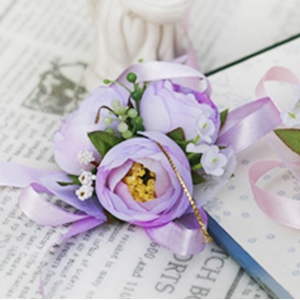 Light Purple Silk Cloth Flower Wedding Bridal Wrist Corsage