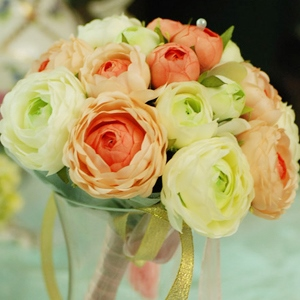 Light Orange and Green Silk Cloth Wedding Bouquet for Bride