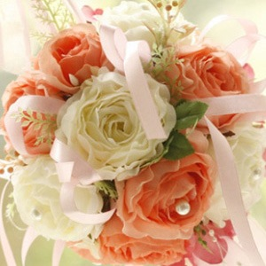 Orange and White Silk Cloth Wedding Bouquet for Bride