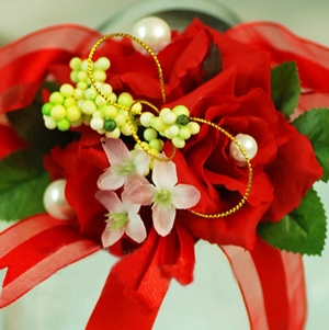 Festive Brillant Red Silk Cloth Wedding Bridal Wrist Corsage