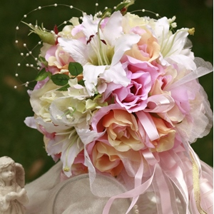Pink and Orange Wedding Bridal Bouquet with White Lily