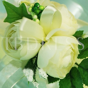 Yellow-white Silk Cloth Wedding Bridal Wrist Corsage