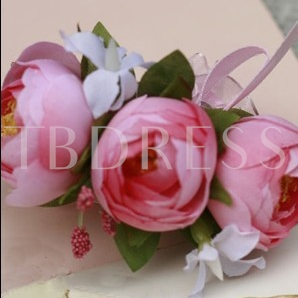 Pink Silk Cloth Bud Wedding Bridal Wrist Corsage