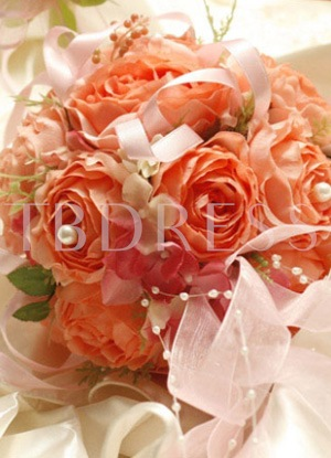 Pink-red Silk Cloth Wedding Bouquet for Bride