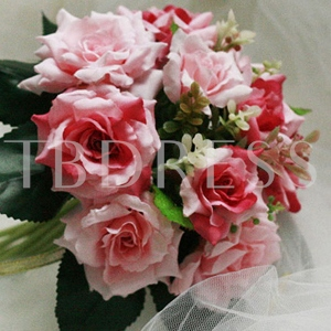10 Pieces Red-pink Silk Cloth Wedding Bridal Wrist Bouquet
