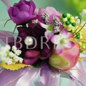 Purple Silk Cloth Wedding Bridal Wrist Corsage