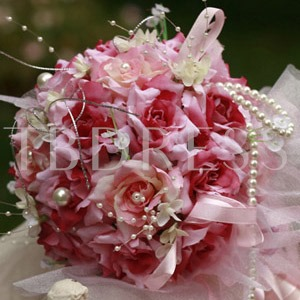 Pink and Red Silk Cloth Wedding Bridal Bouquet