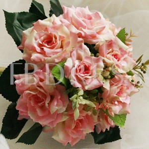 10 Pieces Pale Pink Silk Cloth Wedding Wrist Bouquet for Bride