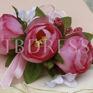 Dark Rose Silk Cloth Flowers Wedding Bridal Wrist Corsages