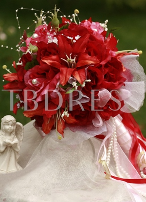 Red Silk Cloth Wedding Bridal Bouquet with Red Lily