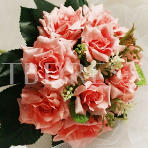 10 Pieces Pink Silk Cloth Wedding Wrist Bouquet for Bride