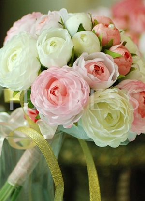 Pink and Green Silk Cloth Wedding Bouquet for Bride