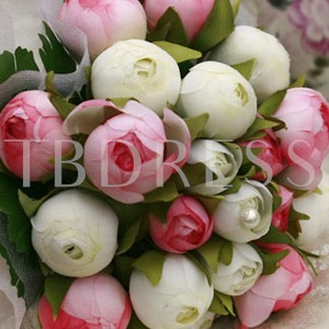Pink and White Silk Cloth Bud Wedding Bridal Bouquet